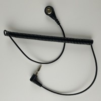 Antistatic ESD ground cord with banana plug or 10mm snap coil cord cable for anti static wrist strap grounding wire