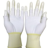 Anti Static ESD Nylon Seamless Knit Medium Weight Fingerless Glove Liner