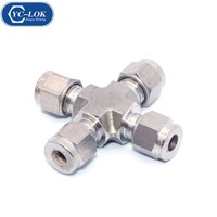 Stainless Steel 4 Way Union Type Tubing Fitting Union Cross Pipe Fittings