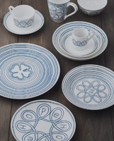 fine bone china dinnerware set with overglazed color figure