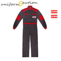 Custom Gray and Red Cotton gas&oil workwear Safety Coverall Uniforms