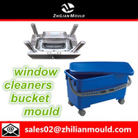 Plastic Window Cleaners Bucket Mould With Lid and wheels