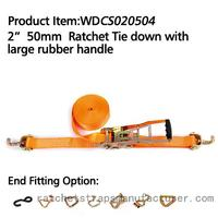 "WDCS020504 2"" 50mm Ratchet Tie down with large rubber handle"
