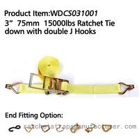 "WDCS031001 3"" 75mm 15000lbs Ratchet Tie down with double J Hooks"