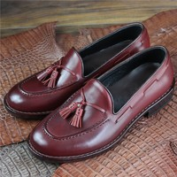 Handmade goodyear slip on tassel shoes genuine leather