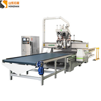 Honzhan HZ-ATC1325PT Triple spindle ATC CNC Router Center with Boring Head for Wood Furniture Making