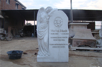 Angel Etching Marble Headstone