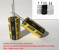 Radial lead electrolytic capacitors for Multi USB Desktop Chargers