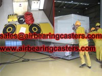Air casters applied on moving and handling machine tools and transformers