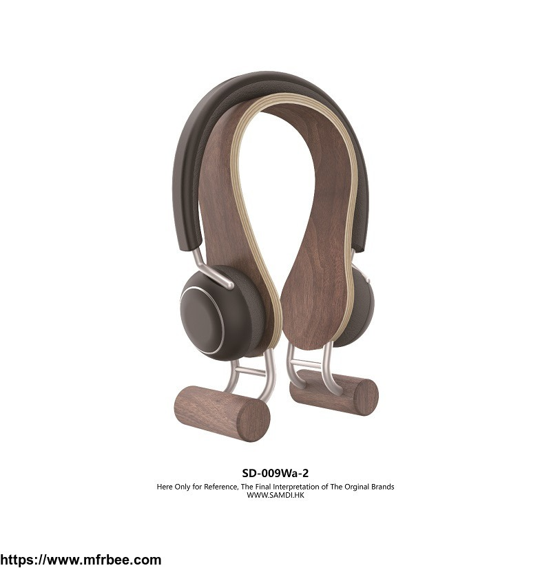 samdi_universal_modern_wooden_and_stainless_steel_headphone_stand_hanger