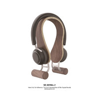 SAMDI Universal Modern Wooden & Stainless Steel Headphone Stand Hanger