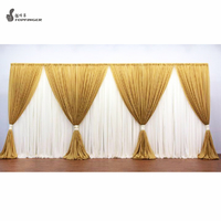 Cheap Mandap Portable Round Chuppah Wedding Curtain Chiffon Drape Stage Decoration Telescopic Pole Wedding Square Backdrop